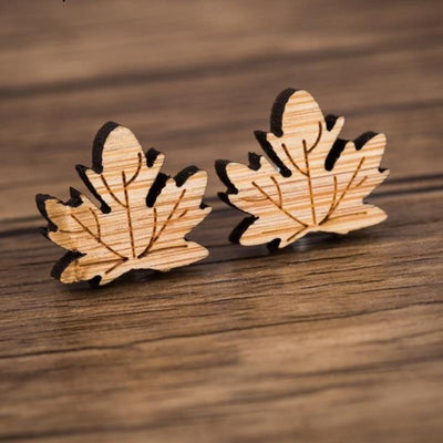 Maple Leaf Wood Stud Earrings - Miss Grandeur
