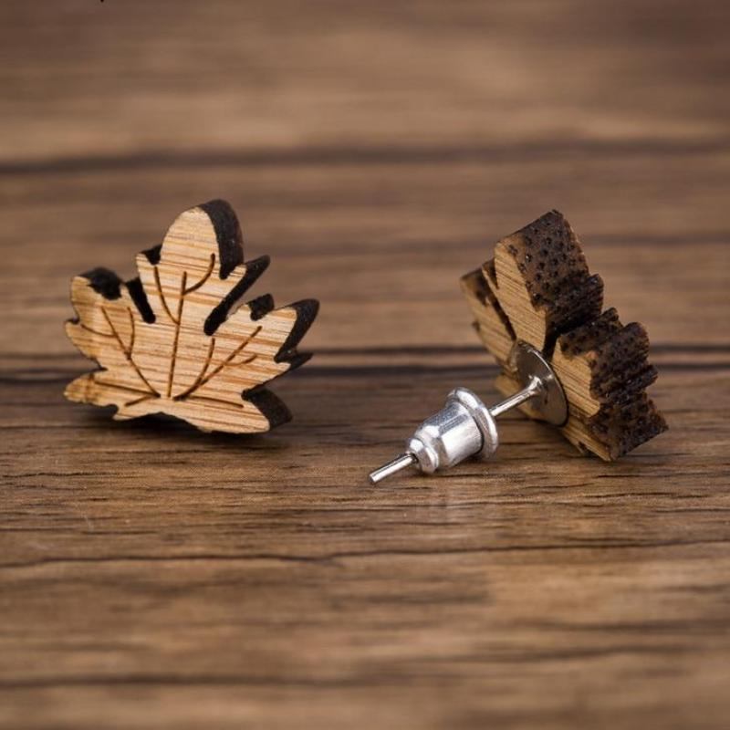 Maple Leaf Wood Stud Earrings