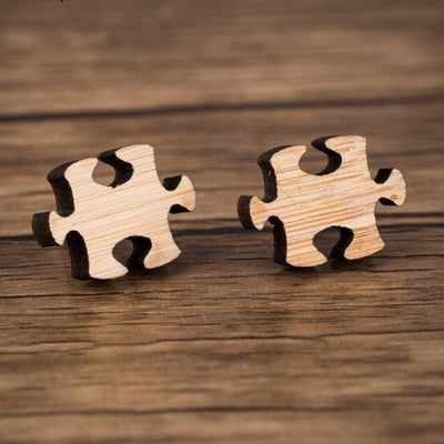 Puzzle Wood Stud Earrings - Miss Grandeur