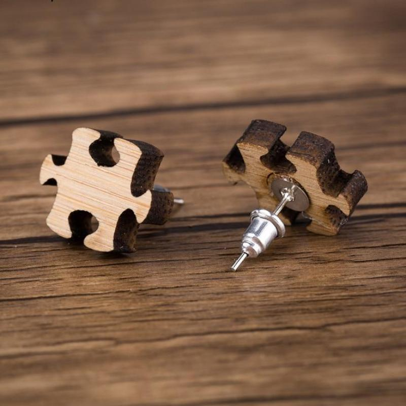 Puzzle Wood Stud Earrings