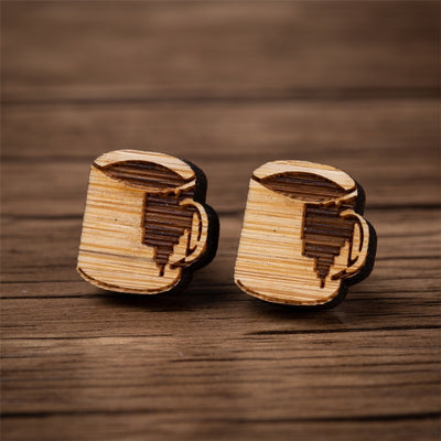 Coffee Wood Stud Earrings - Miss Grandeur