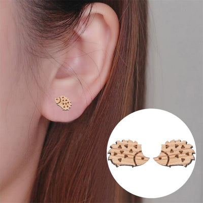 Hedgehog Wood Stud Earrings - Miss Grandeur