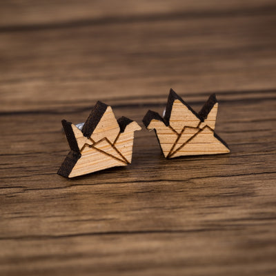 Origami Paper Crane Wood Stud Earrings - Miss Grandeur