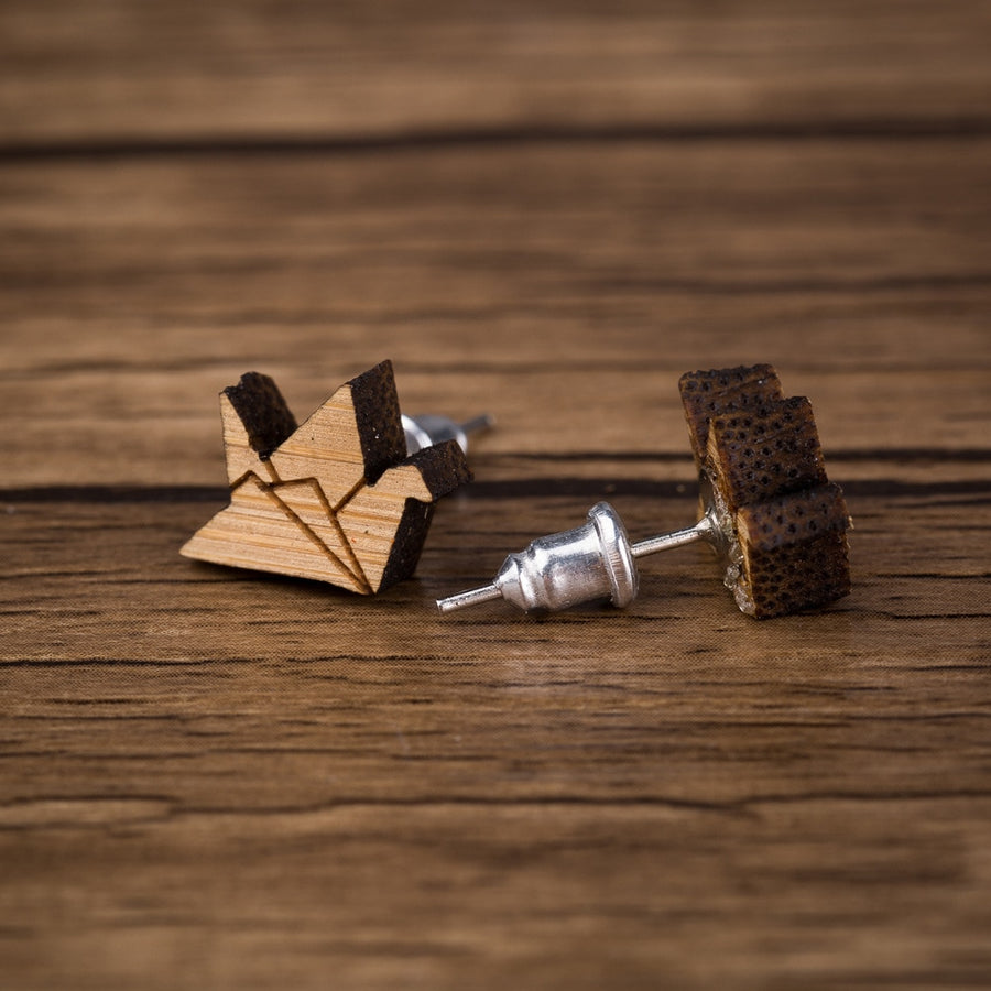 Origami Paper Crane Wood Stud Earrings