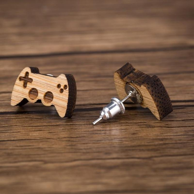 Game Controller Wood Stud Earrings