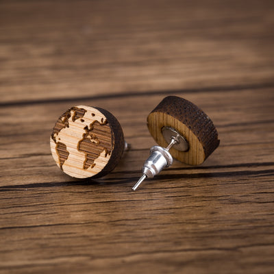 World Map Wood Stud Earrings - Miss Grandeur