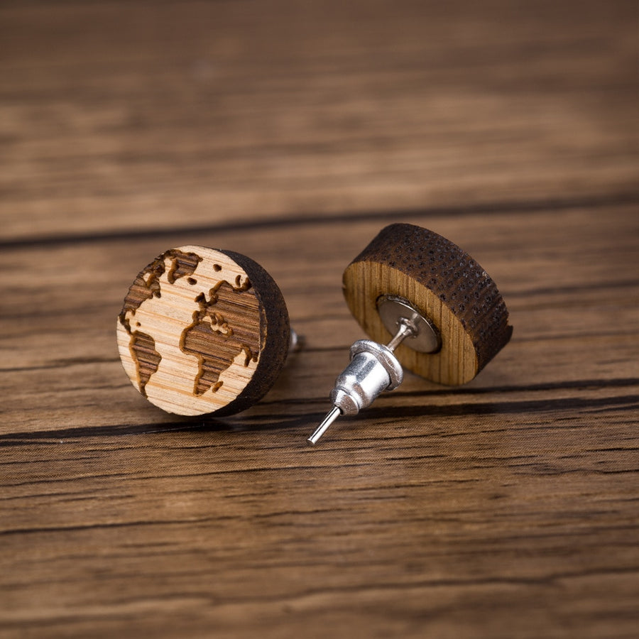 World Map Wood Stud Earrings