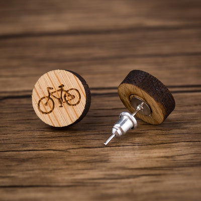 Bicycle Wood Stud Earrings - Miss Grandeur
