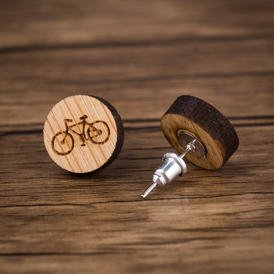 Bicycle Wood Stud Earrings