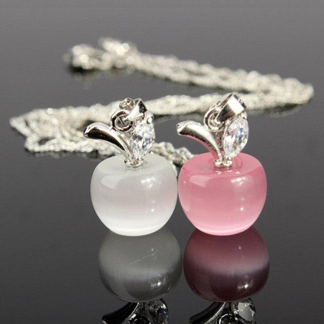 Pink or white apple pendant teacher appreciation necklace free pink or white apple pendant teacher appreciation necklace free shipping mozeypictures Image collections
