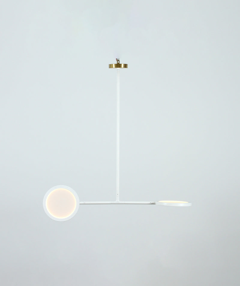 Discus 2 Pendant - White (satin brass canopy)