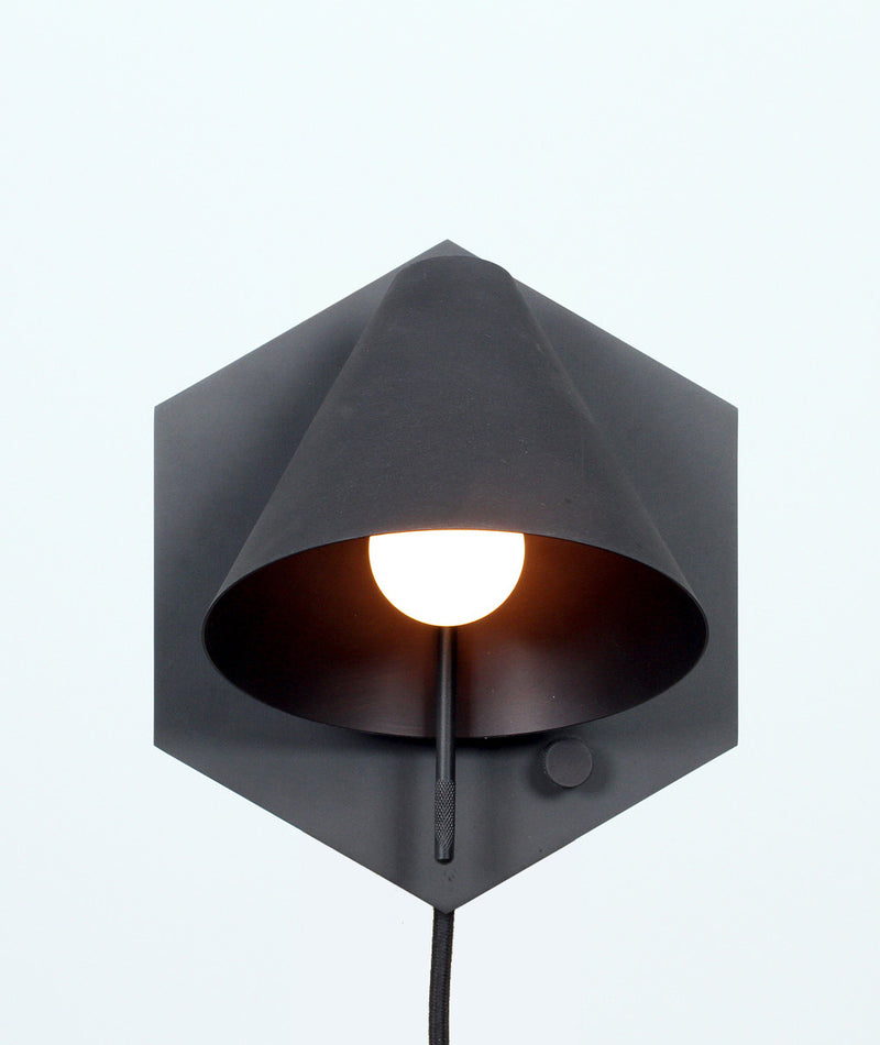 Mega Sconce - Hexagon - Satin Blackened Brass