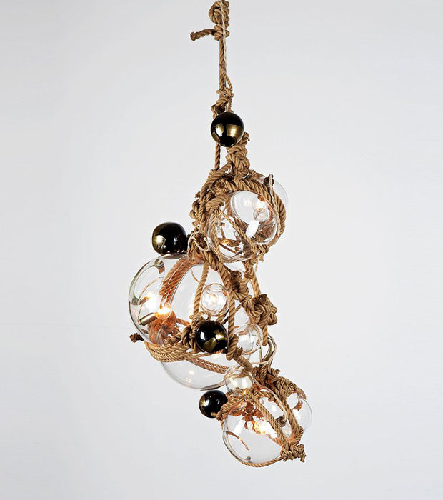 Knotty Bubbles Chandelier - 1 Lg, 2 Sm Bubbles, 5 Barnacles