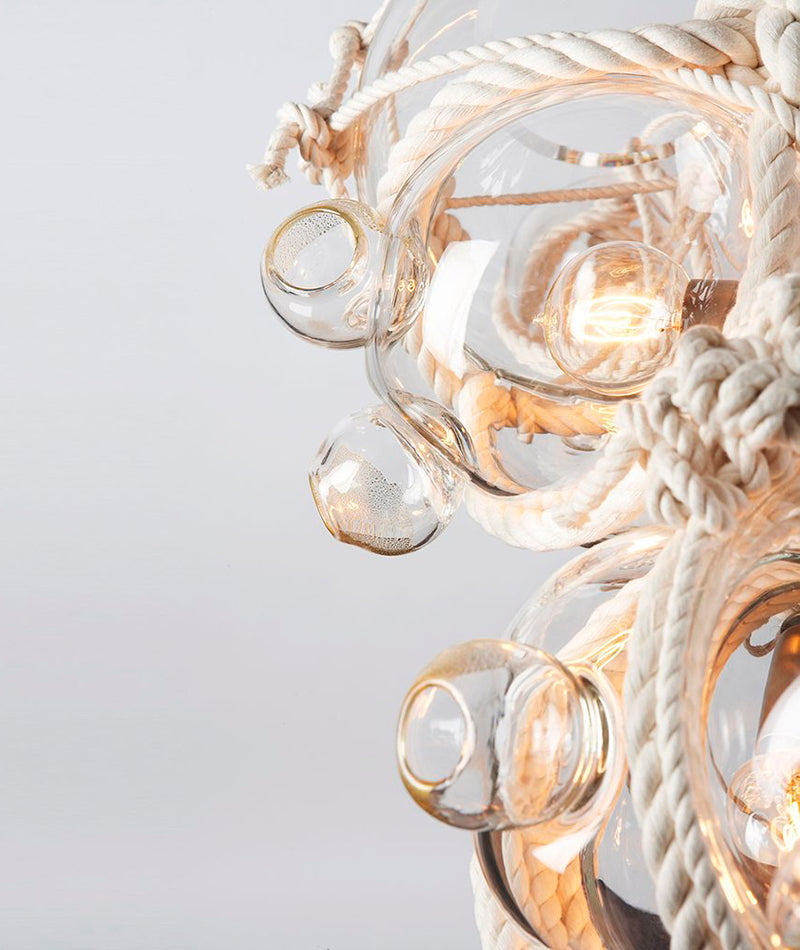 Knotty Bubbles Chandelier - 1 Lg, 6 Sm Bubbles