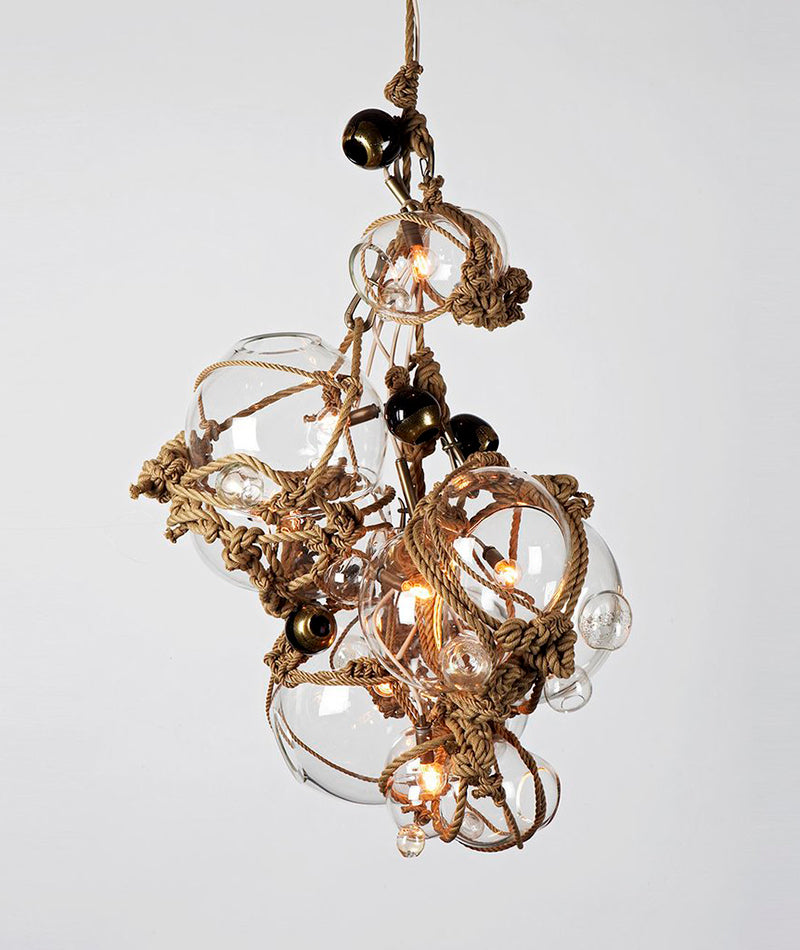 Knotty Bubbles Chandelier - 3 Lg, 2 Sm Bubbles, 5 Barnacles