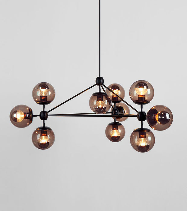Modo Chandelier - 3 Sided, 10 Globes