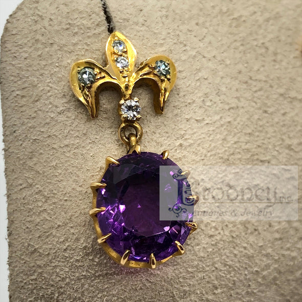 Victorian 14Kt Gold Amethyst and Diamond Earrings