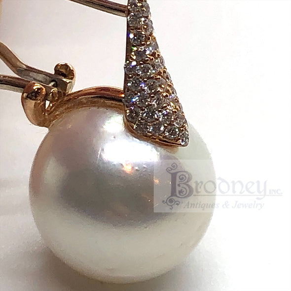 18Kt Rose Gold South Sea Pearl and Diamond Earrings