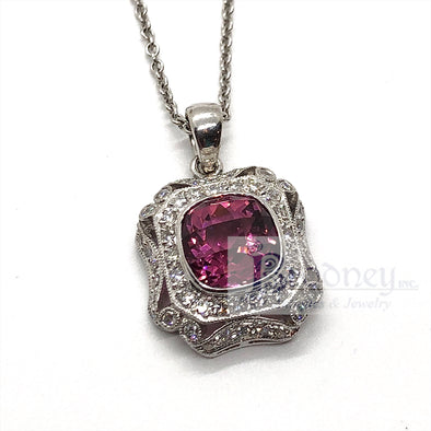 18Kt Gold Cushion Checkerboard Cut Pink Tourmaline and Diamond Pendant Necklace