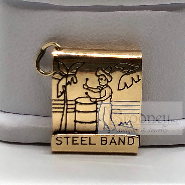 14Kt Gold and Enamel Steel Drummer Band Book of Matches Charm