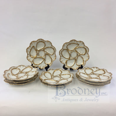 Set of Ten Porcelain Oyster Plates