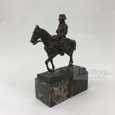 Marion Bronze Figure of Napoleon Riding a Horse with a Marble Base