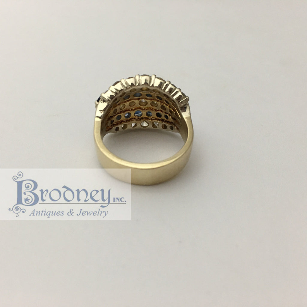 14kt diamond and sapphire ring