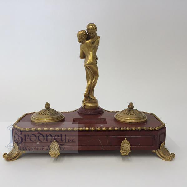 Bronze and Marble Satyr Inkwell