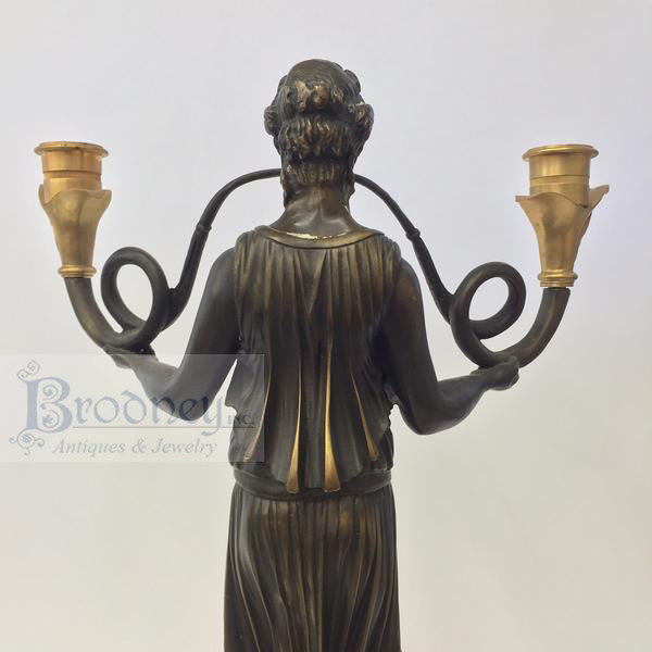 French Bronze Ornate Candlesticks