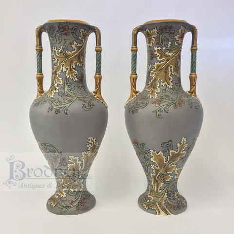 A Pair of French Enamel on Copper Urns
