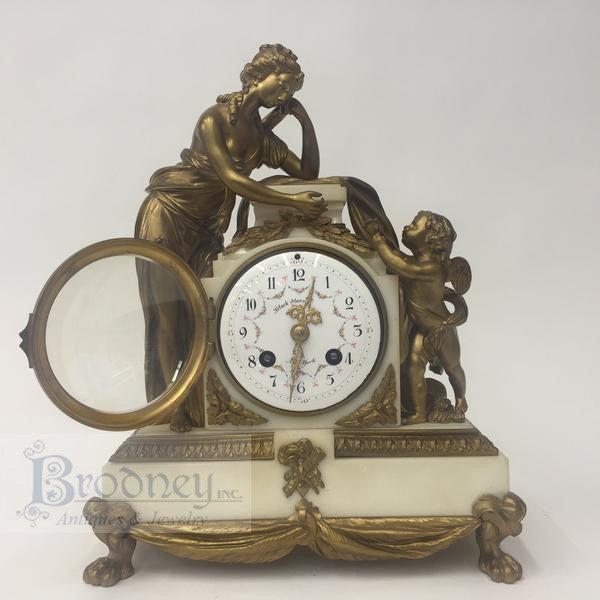 french-bronze-marble-three-piece-clock-set-antique-5