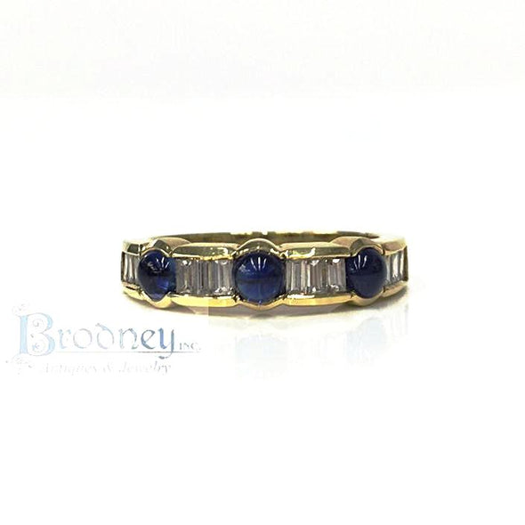 SPARK 18kt Gold Sapphire and Diamond Band fine estate jewelry
