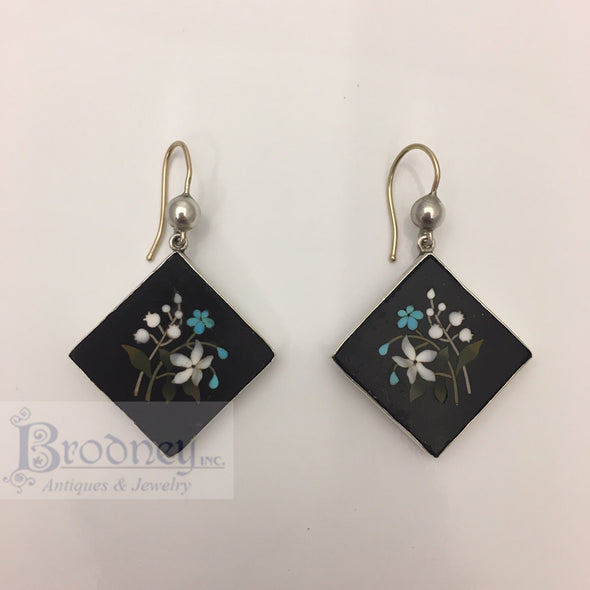 Sterling Silver and Pietra Dura Earrings