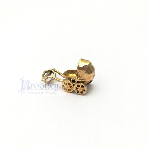14Kt Gold Baby Carriage Charm