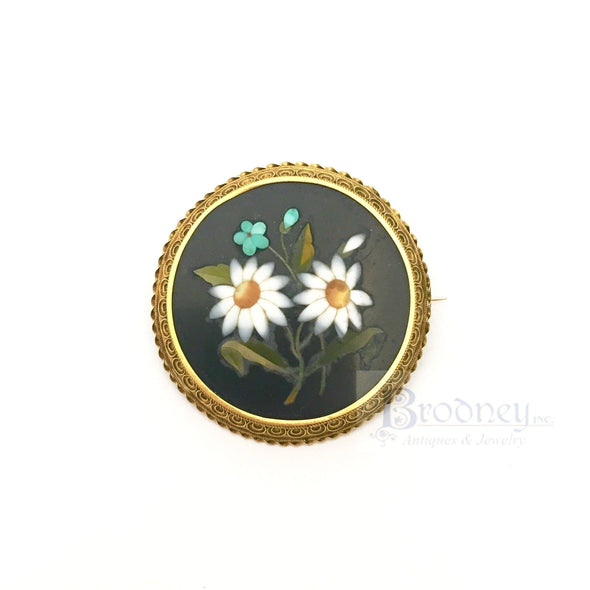 18kt Gold and Pietra Dura Brooch fine estate jewelry