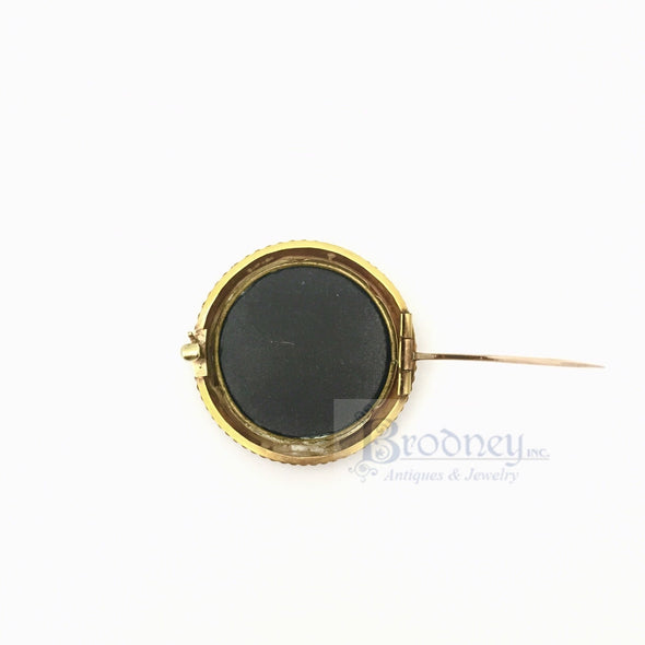 18kt Gold and Pietra Dura Brooch