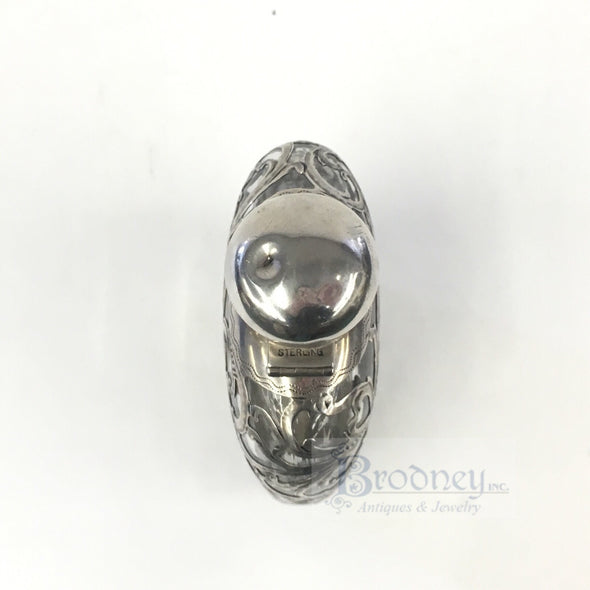Alvin Sterling Silver Filigree and Glass Flask
