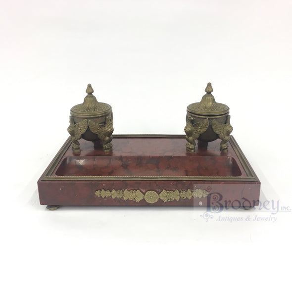 Rouge Marble and Bronze Inkwell