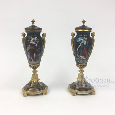 A Pair of French Enamel on Copper Urns antiques decorative arts
