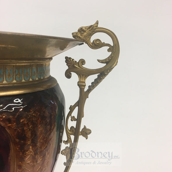 French Enamel on Copper Vase with Champlevé details