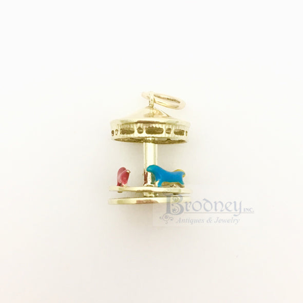 14kt Gold and Enamel Merry-Go-Round Charm