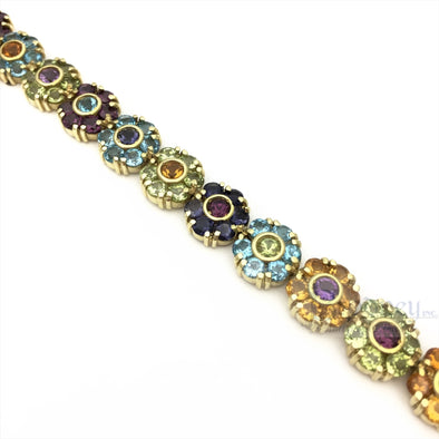 18kt Gold Multi Color Gem Stone Bracelet