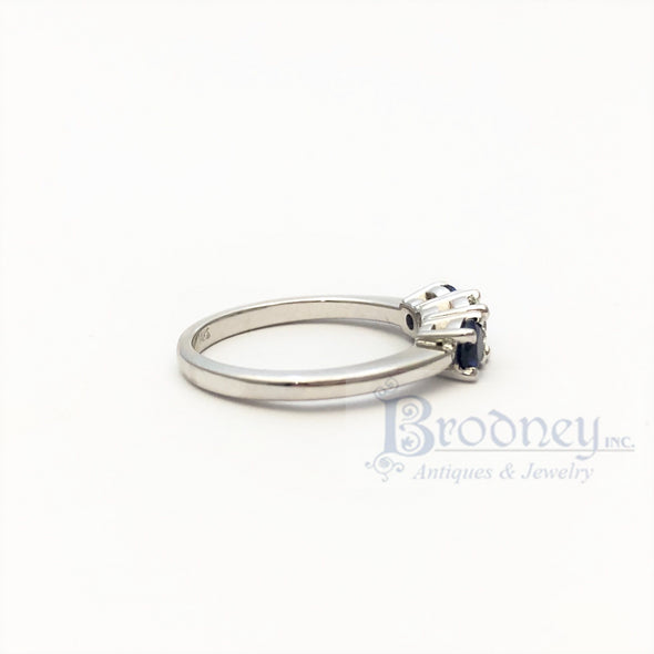 14kt White Gold Sapphire and Brilliant Cut Diamond Engagement Ring