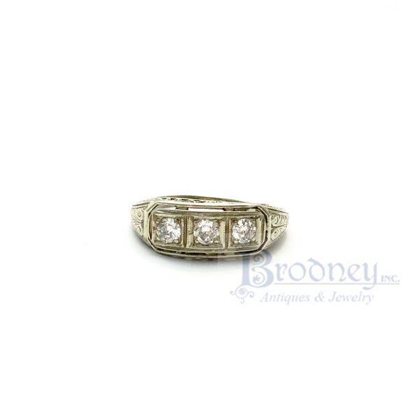 Art Deco 18kt White Gold 3 European Cut Diamond Filigree Engagement Ring