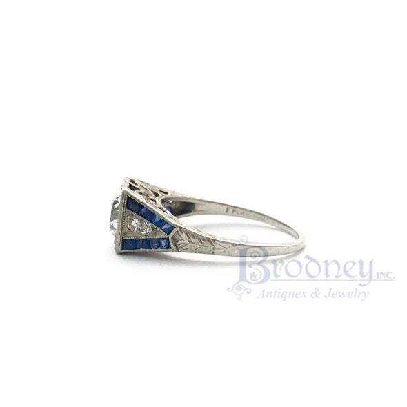 Art Deco Platinum Old Mine Cut Diamond and Sapphire Engagement Ring