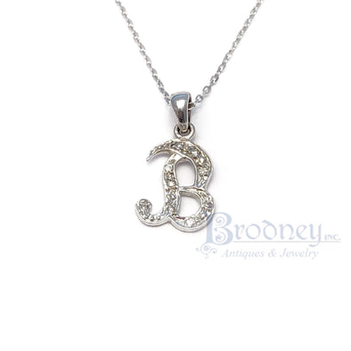 14kt White Gold and Diamond Letter 'B' Pendant