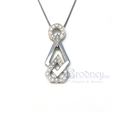 Retro Style 14kt White Gold and Brilliant Cut Diamond Pendant