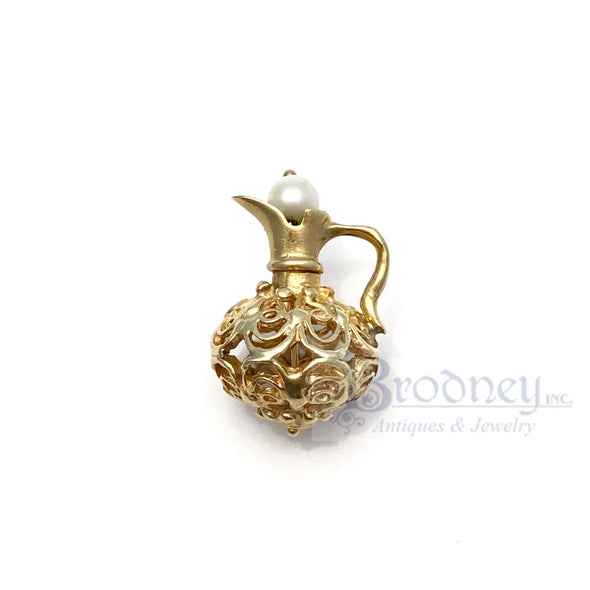 14kt Gold Filigree and Pearl Pitcher Charm
