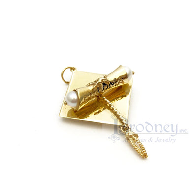 14kt Gold and Pearl Graduation Cap Diploma Charm