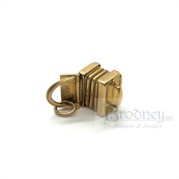 Vintage 14kt Gold and Enamel Accordion Charm